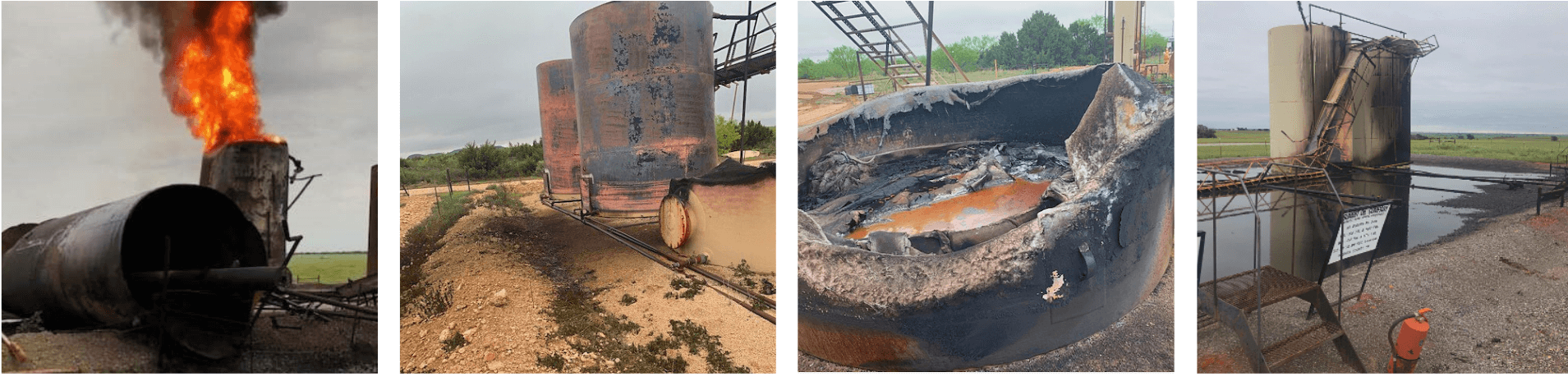 lightning strikes at oilfield production site